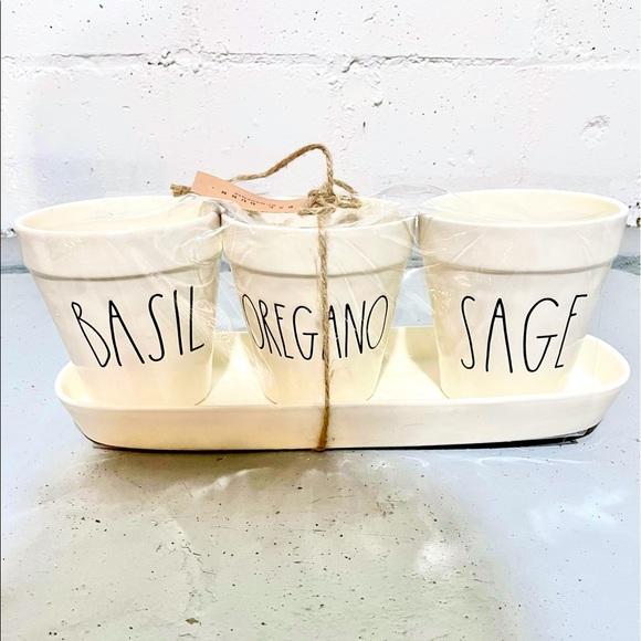 Rae Dunn Basil, Oregano, Sage Planter Set